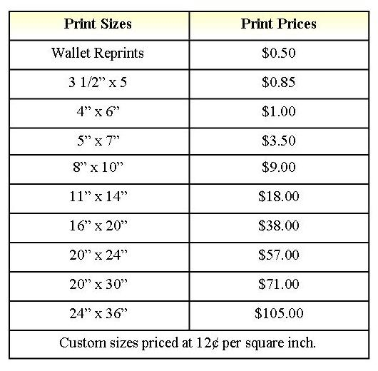 Print Prices table cents
